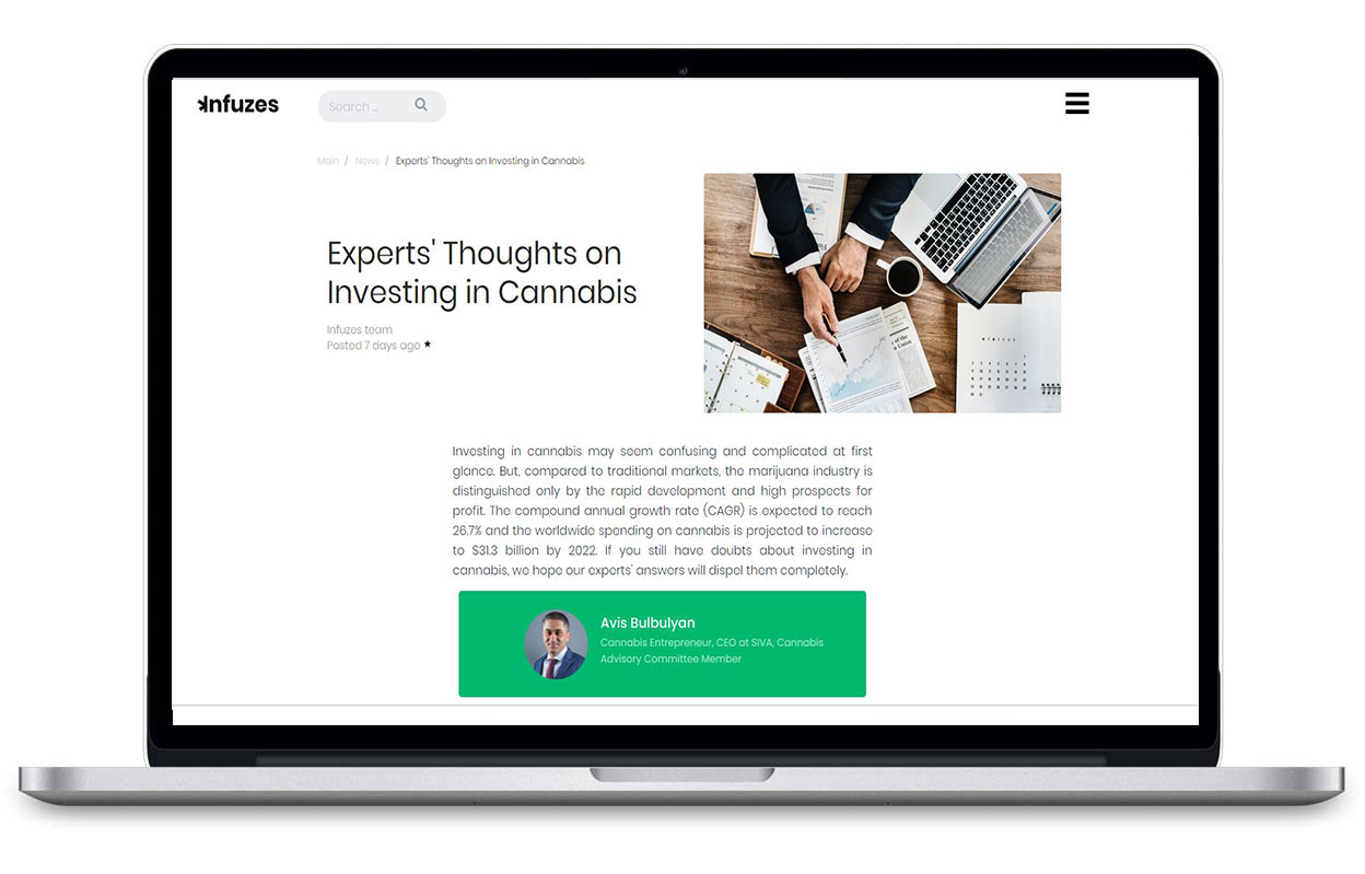 Laptop browsing Infuzes article on Investing in Cannabis
