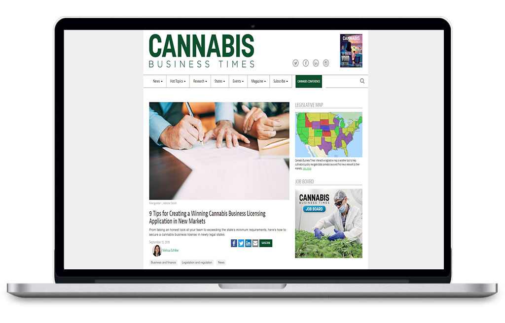 Laptop browsing Cannabis Business Times Article