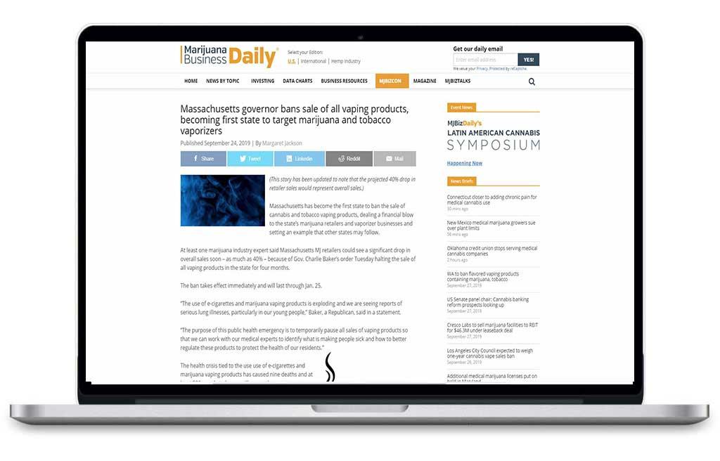 Laptop browsing Marijuana Business Daily