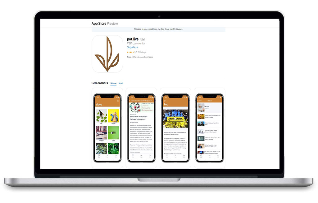Laptop browsing App Store for Pot.Live Application
