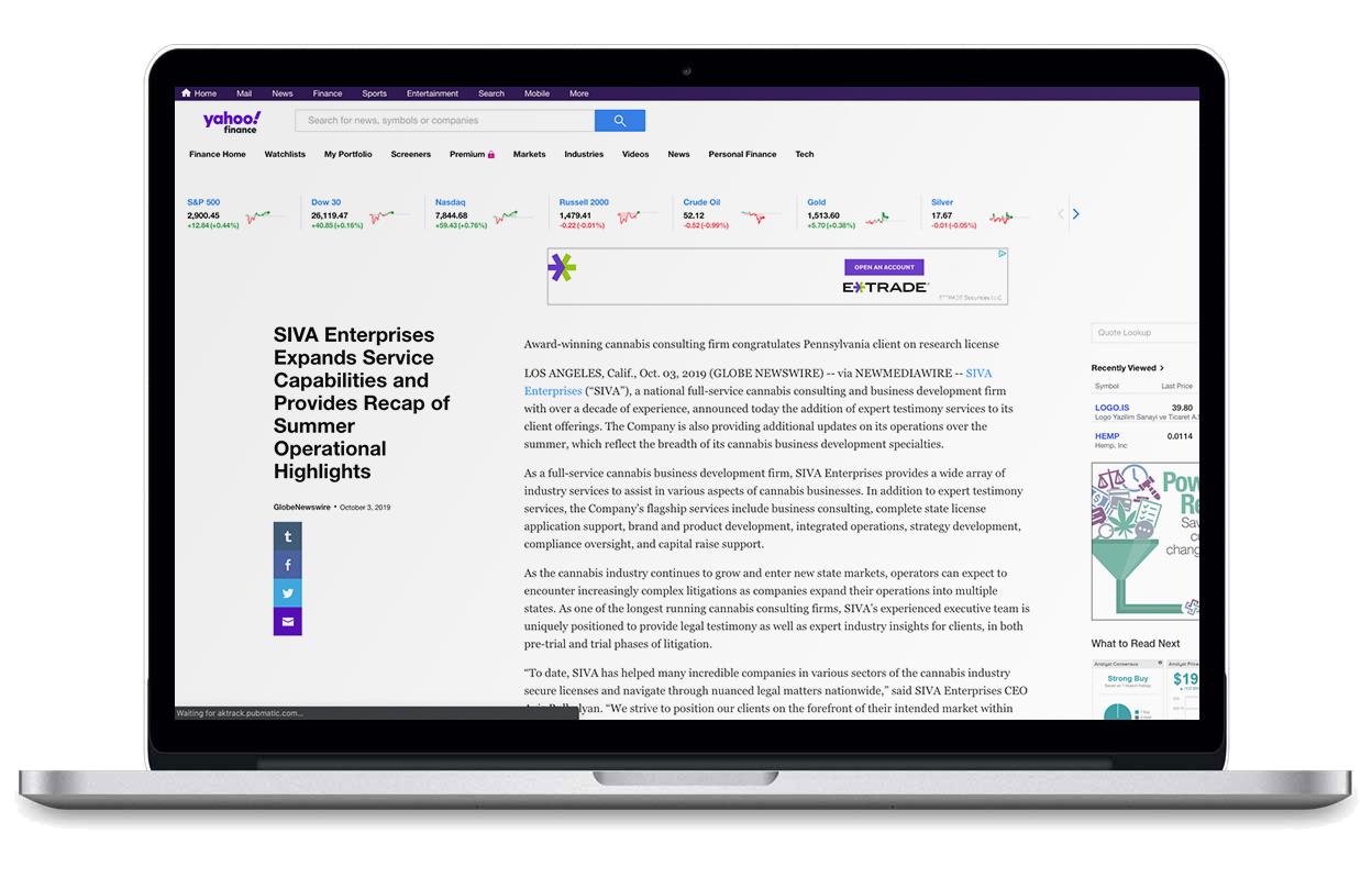 laptop browsing yahoo finance SIVA article